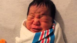 Hungry newborn baby boy
