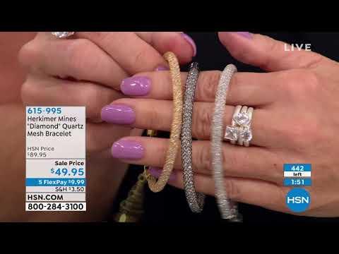 "Herkimer Mines ""Diamond"" Quartz Mesh Bracelet"