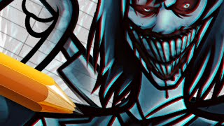How to Draw and Color a Jeff the Killer & Slender Man Fusion - Full Digital Art Course