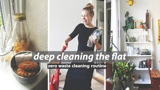 ZERO WASTE CLEANING ROUTINE // doing laundry, cleaning & dishes