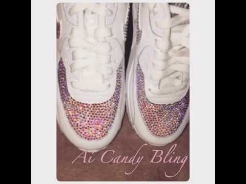 Swarovski Bling Crystal Nike Air Max 90 Sneakers - YouTube d8a2b34bf0