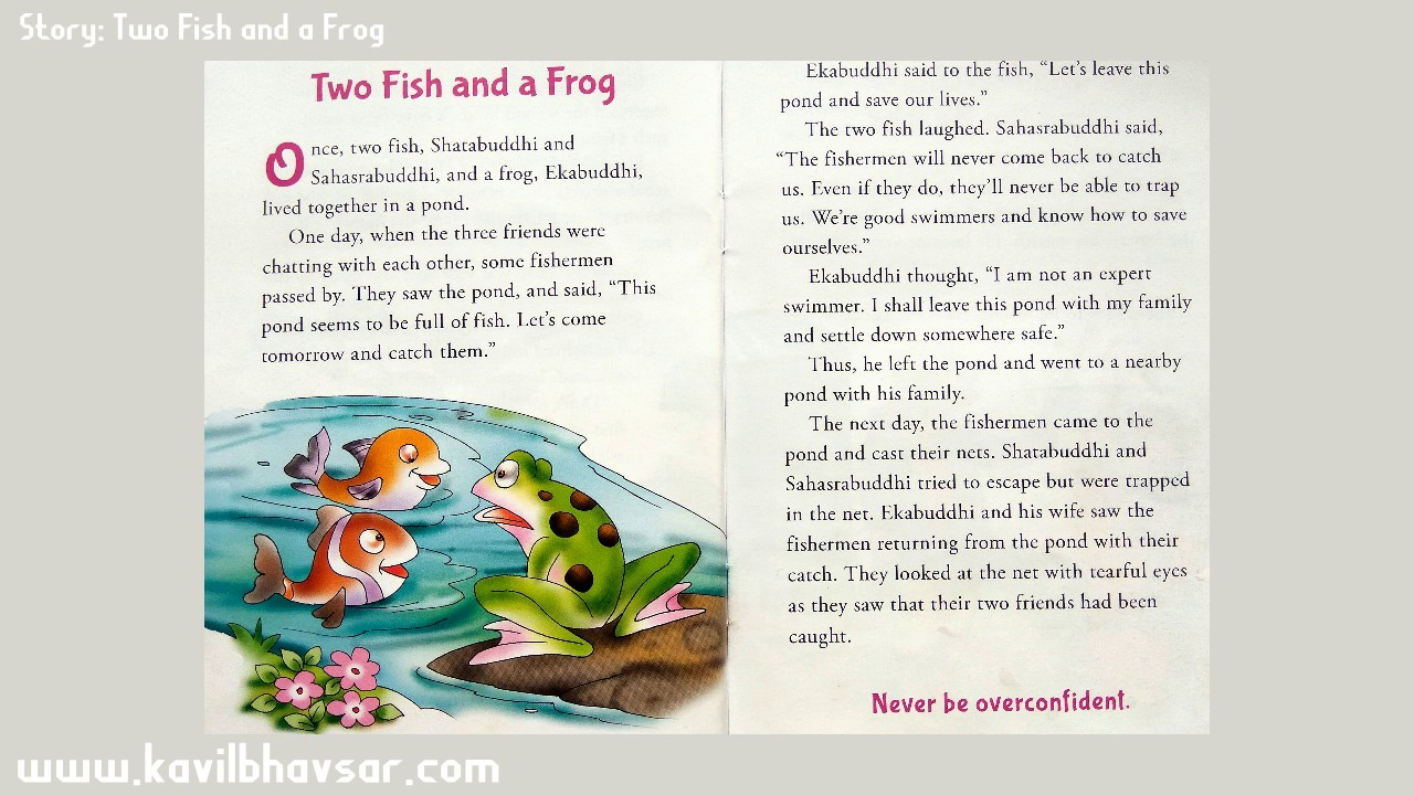 Two fish and a frog english story reading for kids pre for Fish short story