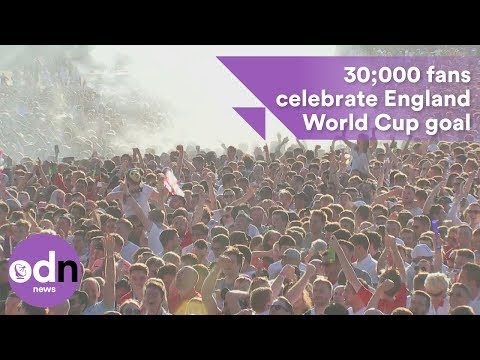 30,000 fans in Hyde Park celebrate England goal in World Cup semi-final thumbnail