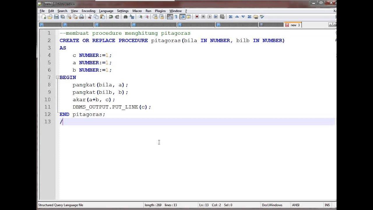 Membuat Oracle Stored Procedure untuk Menghitung rumus