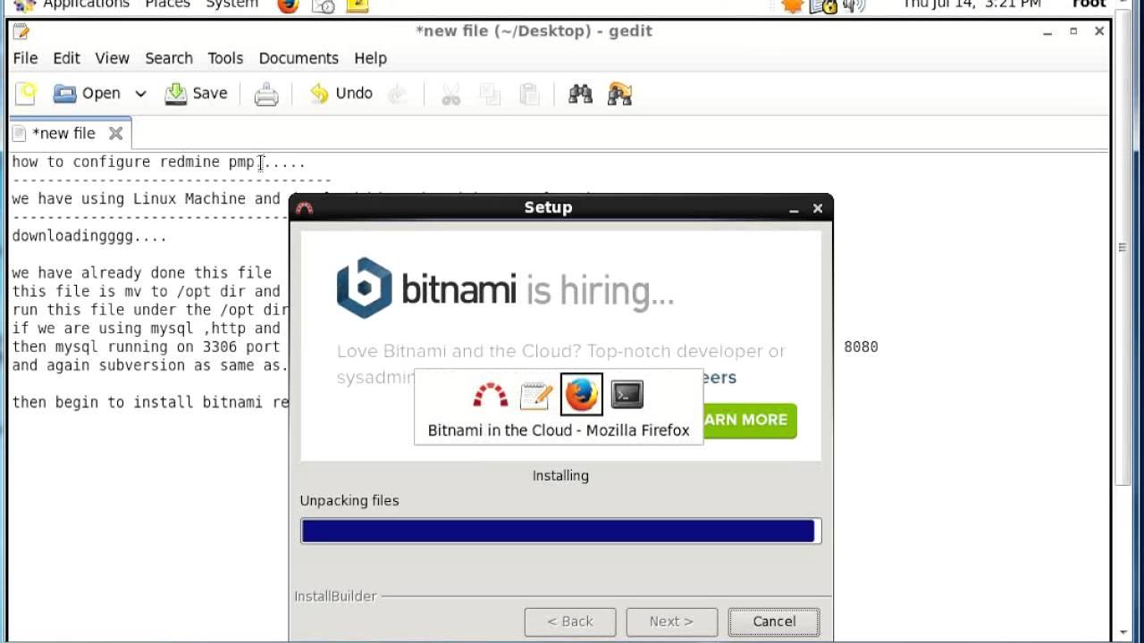 Bitnami Redmine installation on linux machine
