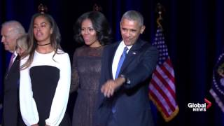 Obamas wave goodbye following president