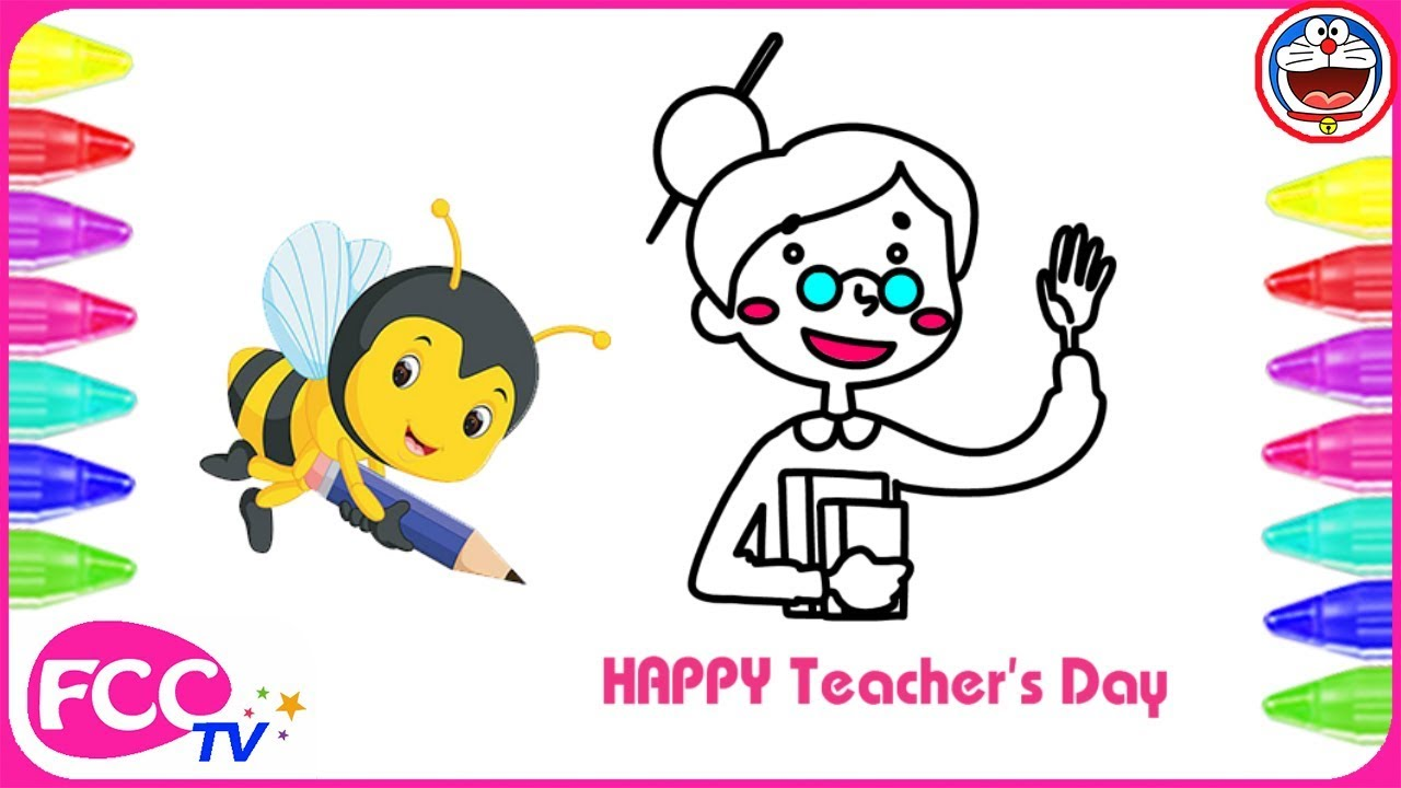 World Teacher Day Coloring Pages | Drawing for Kids | How to Draw ...