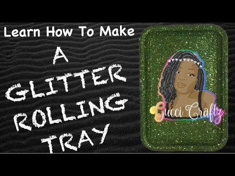 DIY GLITTER ROLLING TRAY/DOLLAR TREE CRAFTS/5 MIN CRAFTS