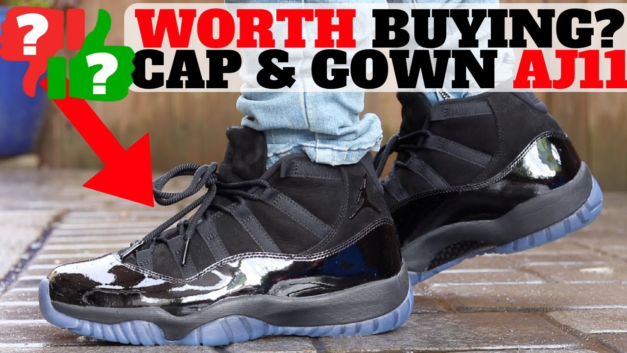 WORTH BUYING   250 AIR JORDAN XI  CAP AND GOWN  REVIEW! - YouTube f4b5676e54c