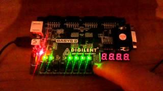 Contador de 8 bits con reset VHDL basys 2  (8 bits counter with reset VHDL BASYS 2)