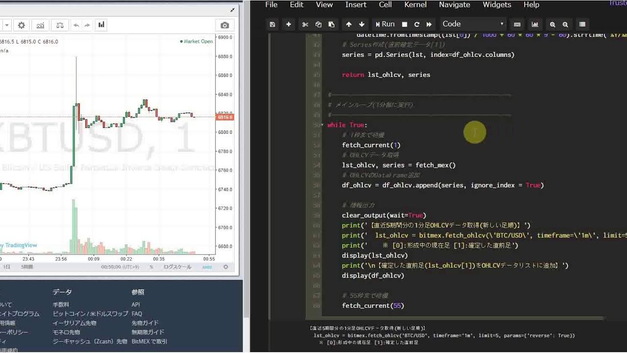 PythonからBitMEX API(CCXT)を使ってリアルタイムにロウソク(OHLC)データを取得(fetch ohlcv)