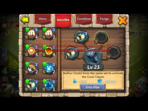 Castle Clash Tutorial- Inscribing, And Crests