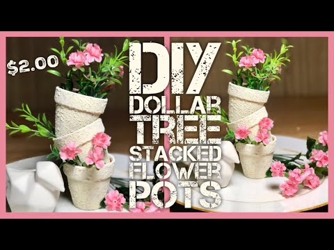 DIY Textured Stacked Flower Terracotta Pots - Dollar Tree Farmhouse, Shabby Chic Room or Porch Decor