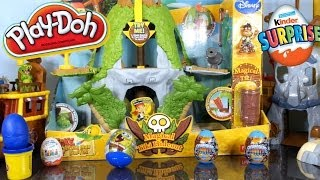 Jake And The Neverland Pirates Full Playset Magical Tiki Hideout + Play Doh & Kinder Surprise Eggs