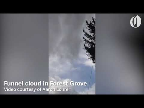 Funnel cloud forms over Forest Grove