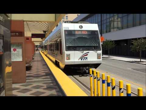 Valley Transportation Authority HD 60fps: VTA Light Rail Trains @ Convention Center Station 7/23/15