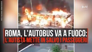 Roma, incendio su autobus: autista mette in salvo i passeggeri