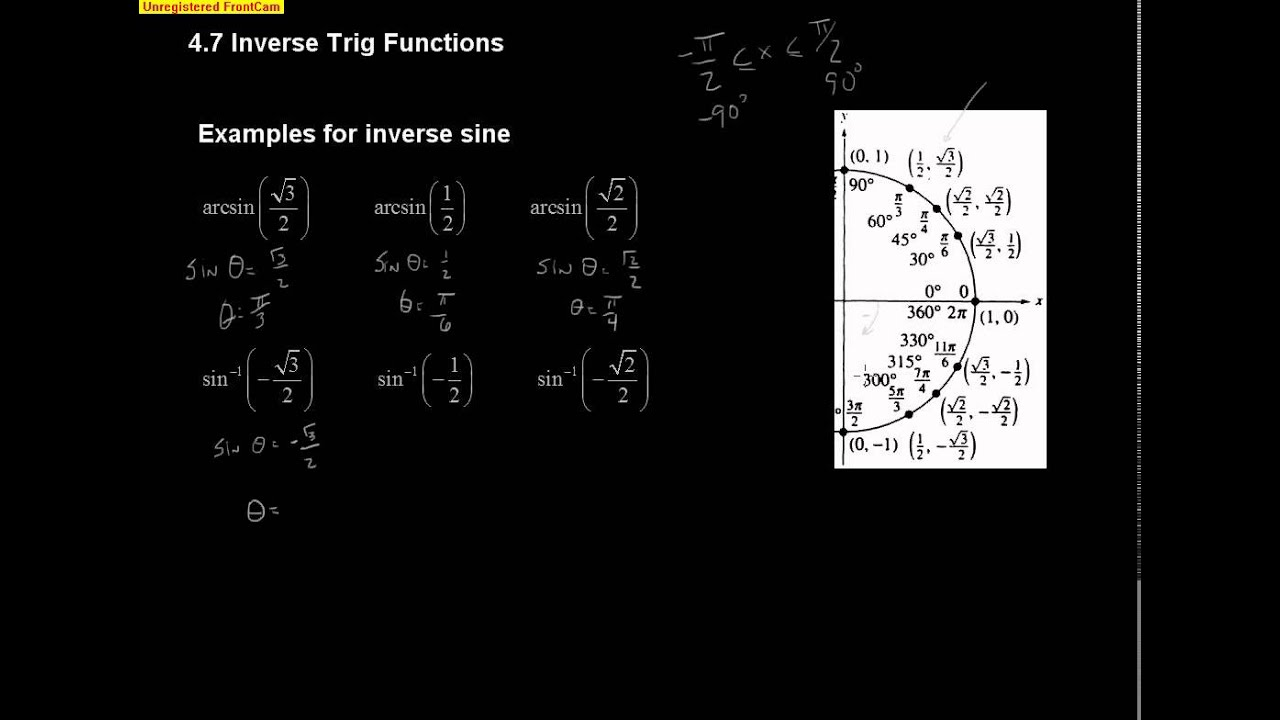 Workbooks inverse trigonometric functions problems worksheets : Pre-Calc Section 4.7: Inverse Trig Functions - YouTube