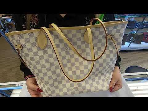 LOUIS VUITTON Neverfull MM Damier Azur Tote Shoulder Bag White - DD6500