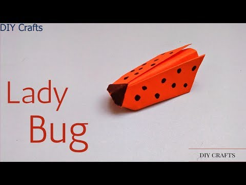 How to Make A Cute paper Lady Bug - Origami Lady Bug Tutorial - Paper Insect Ladybird Easy Tutorial