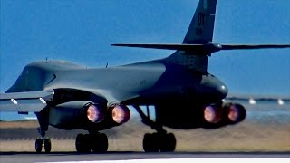 USAF B1-B Lancer EARTH SHATTERING Full Afterburner takeoff!
