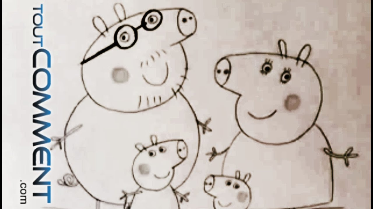 Dessiner Peppa Pig Et Toute Sa Famille How To Draw Peppa Pig Family Characters Speed Drawing