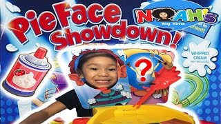 funny pie face showdown video with surprise egg and blind bag kid toy video