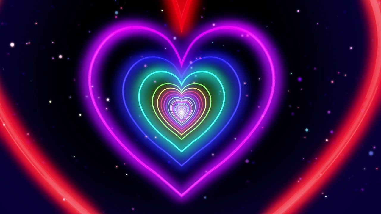 Download Neon Lights Love Heart Tunnel of Abstract Fast Movement Glow 4K TikTok Trend Background