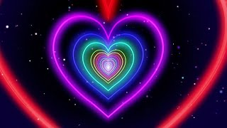 Neon Lights Love Heart Tunnel Of Abstract Fast Movement Glow 4K TikTok Trend Background