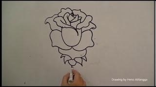 Belajar mudah menggambar Bunga Mawar