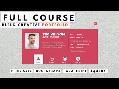 How To Make Creative Portfolio Design Using HTML & CSS - Full Course