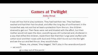 Games At Twilight By Anita Desai, Part-1 | গেমস অ্যাট টোয়ালাইট । Prose, Hide And Seek, Play, Sports