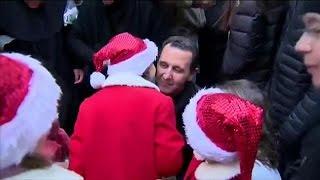 بالفيديو.. الأسد يظهر في احتفال لعيد الميلاد بسوريا
