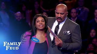 199 points! Halle needs ONE POINT for $20,000! | Family Feud