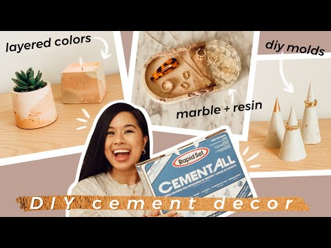 AESTHETIC CONCRETE DIY DECOR THAT'S FUNCTIONAL! | Marble Cement Resin Flowers, Candle Silicone Mold - YouTube