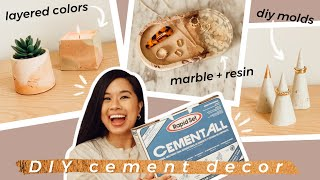 AESTHETIC CONCRETE DIY DECOR THAT'S FUNCTIONAL! | Marble Cement Resin Flowers, Candle Silicone Mold
