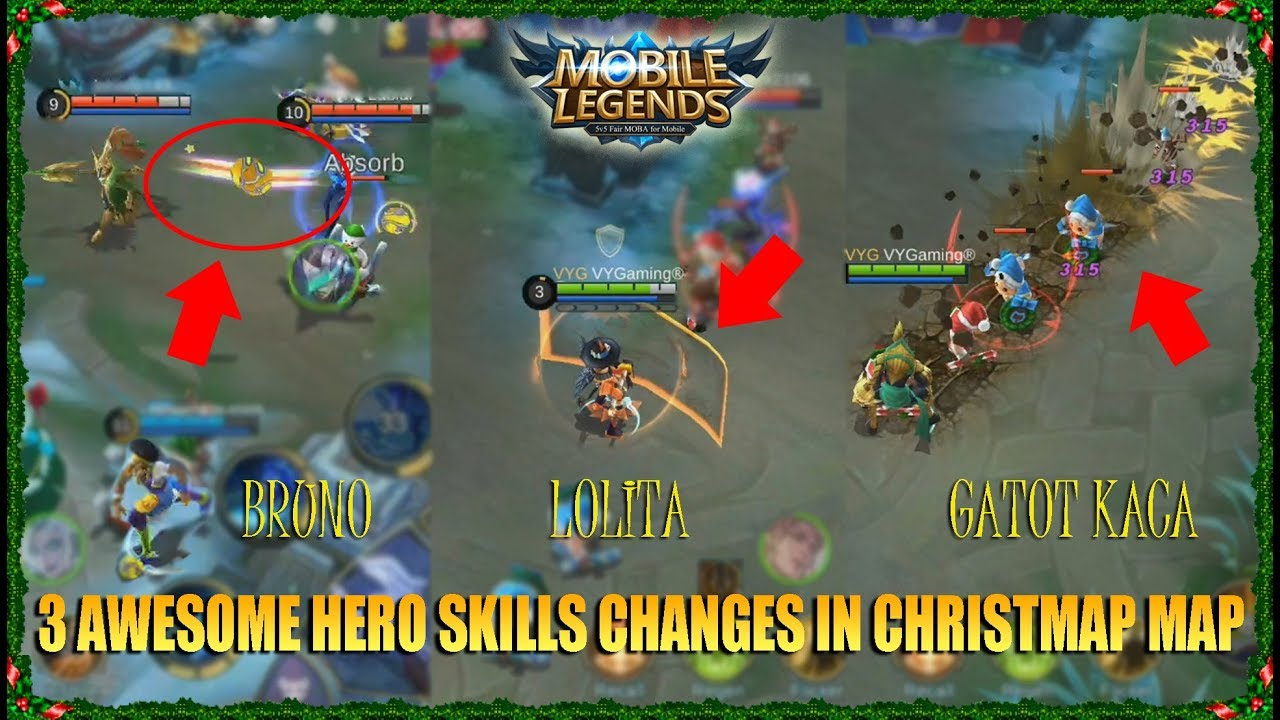 EPIC New Skills Bruno,Lolita, and Gatot Kaca in Christmas Map Montage Kill - Mobile Legends