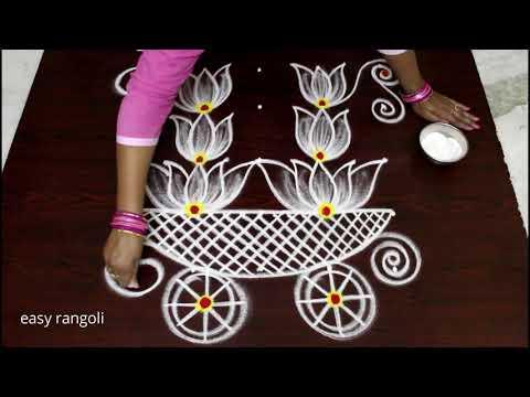 Rathasapthami rangoli kolam designs by Suneetha || Ratham muggulu designs with 5 dots