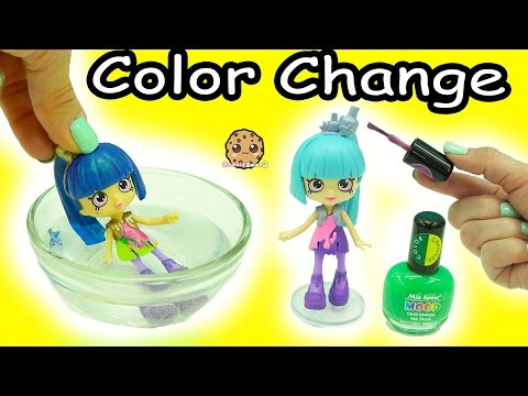 Color Changing Nail Polish Painting Shopkins Happy Places Shoppies Doll - DIY Craft Video