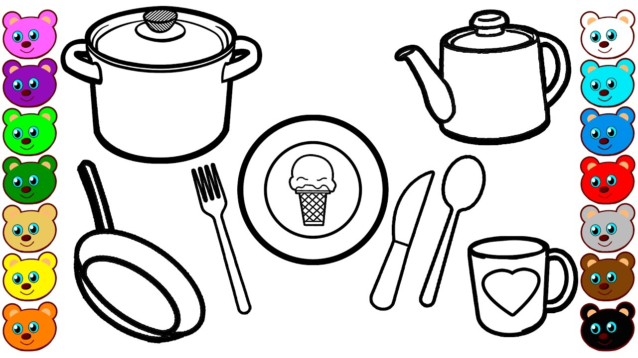 Colouring pages kitchen - Learn Colors For Kids With Kitchen Dishes Coloring Pages Drawing