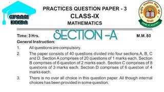 CLASS IX MATHS FINAL SAMPLE PAPER 2020-2021 SUPPORTING MATERIAL PRACTICE SHEET 3