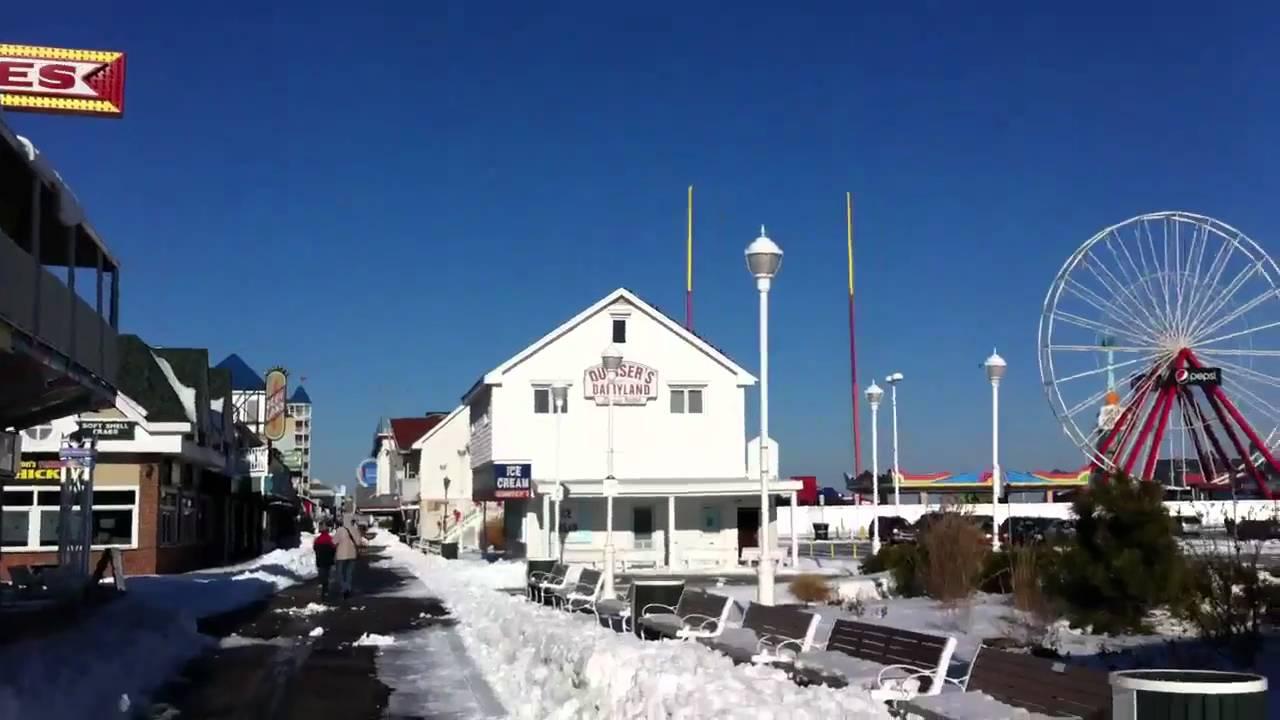 Winter Boardwalk In Ocean City Md Youtube