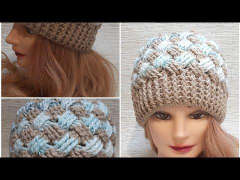 Вязаные шапки крючком для женщин схемы теплые