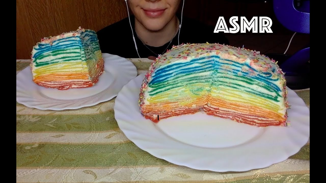Rainbow Crepe Cake Asmr No Talking Soft Eating Sounds Veliaeats By Veliaeats Try not to eat challenge! cyberspace and time