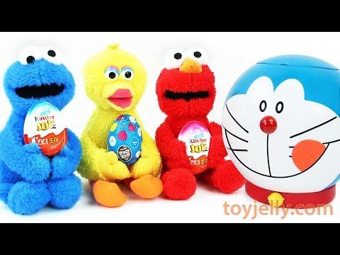 What's Inside Learn Colors Doraemon Baby Toys Elmo Cookie Monster Kinder Joy Surprise Eggs for Kids