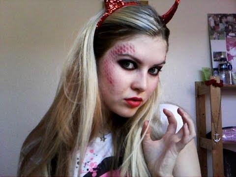 Halloween - Red Devil Make Up Tutorial - YouTube
