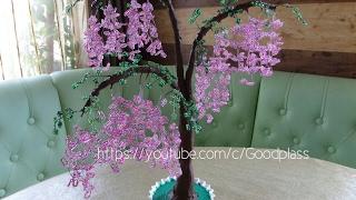 Бисероплетение. Дерево Глициния из бисера. Часть 2