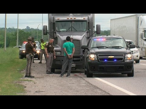 Oklahoma Highway Patrol Trooper's car hit by semi-truck