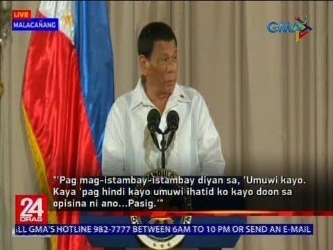 Mga tambay, binalaan ni Pangulong Duterte