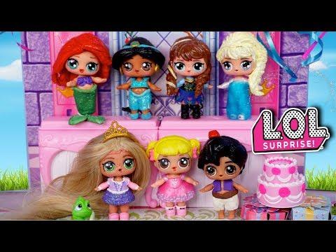 LOL Disney Princess Birthday Party with Baby Goldie - Barbie Rapunzel Family